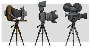 Cartoon movie and photo camera on tripod set. Digital and vintage. Vector icon set Royalty Free Stock Images