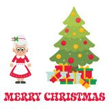 Cartoon mrs santa with christmas fir tree and text. Vector image of a cartoon mrs santa with christmas fir tree and text Stock Images