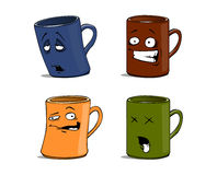 Cartoon mugs with different emotions the isolated Stock Photography