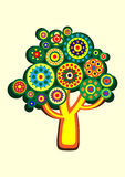 Cartoon multi-colored tree in a circle. Vector Stock Photography