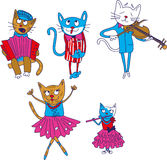 Cartoon multicolored singing cats isolate on Stock Photos