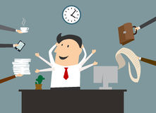 Cartoon multitasking businessman on workplace Royalty Free Stock Photography