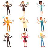 Cartoon flat multitasking characters set. Men and women with many hands. People of different professions. Vector. Cartoon multitasking people characters set. Men Royalty Free Stock Photos