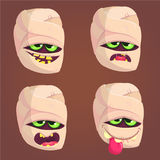 Cartoon mummy icons. Vector set of four zombie head emotions. Stock Photography