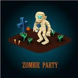 Cartoon Mummy on Night Halloween Cemetery Vector Stock Image