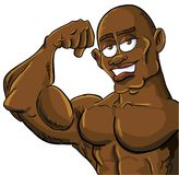 Cartoon muscle man flexing his bicep. Isolated Royalty Free Stock Images