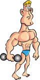 Cartoon muscleman with a dumb bell Stock Photos