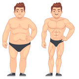 Cartoon muscular and fat man, guy before and after sports. weight loss and diet vector lifestyle concept. Body male muscle and overweight body illustration vector illustration