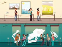 Cartoon museum gallery exhibition with painting, science exhibits and people visitors vector illustration. Museum exhibition picture and exposition culture Stock Photography