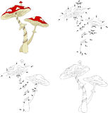 Cartoon mushroom house. Coloring book and dot to dot game Stock Photography