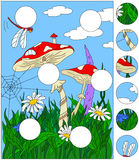 Cartoon mushroom house on the grass forest. Complete the puzzle. And find the missing parts of the picture. Educational game for kids Royalty Free Stock Photos