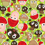 Cartoon Mushroom Seamless Pattern_eps. Illustration of cartoon mushroom seamless pattern with star and silhouette background. --- This .eps file info Version Royalty Free Illustration