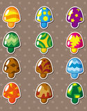 Cartoon mushroom stickers Royalty Free Stock Photo