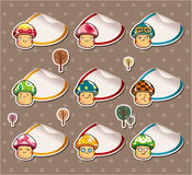 Cartoon mushroom Stickers ,Label Stock Image