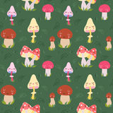 Cartoon mushrooms seamless vector pattern Stock Photo