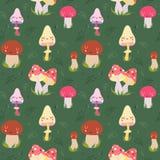 Cartoon mushrooms seamless vector pattern Stock Photo