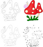 Cartoon mushrooms with snail. Dot to dot game for kids Stock Photo
