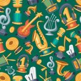 Cartoon music award statuette entertainment winner top artist achievement prize vector illustration seamless pattern Stock Images
