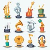 Cartoon music award statuette entertainment winner top artist achievement prize vector illustration. Royalty Free Stock Images