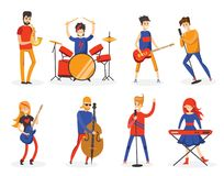 Cartoon music band in flat style Royalty Free Stock Images