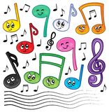 Cartoon music notes theme image 1 Royalty Free Stock Photo