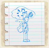 Cartoon music  on paper note, vector illustration Stock Photos