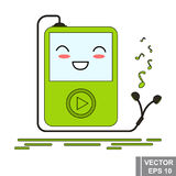 Cartoon music player is green. Icon isolated on white background. Stock Photos