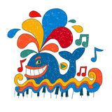 Cartoon music whale. Stock Image