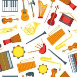 Cartoon Musical Insrtuments Background Pattern on a White. Vector Stock Images