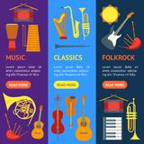 Cartoon Musical Insrtuments Banner Vecrtical Set. Vector. Cartoon Musical Insrtuments Banner Vecrtical Set Symbol of Orchestra Music Band Violin, Guitar, Drum Stock Image