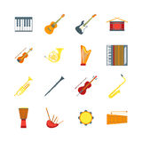 Cartoon Musical Insrtuments Color Icons Set. Vector. Cartoon Musical Insrtuments Color Icons Set Symbol of Orchestra Music Band Violin, Guitar, Drum and Trumpet Stock Image