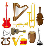 Cartoon musical instruments Royalty Free Stock Images