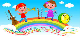 Cartoon musical instruments and children Royalty Free Stock Image