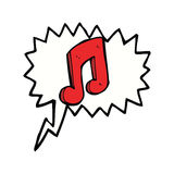 Cartoon musical note with speech bubble Royalty Free Stock Photography