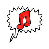 Cartoon musical note with speech bubble Royalty Free Stock Photo