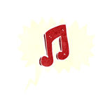 Cartoon musical note with speech bubble Royalty Free Stock Photos