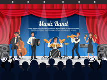 Cartoon Musician Illustration. Cartoon colored musician illustration with music band performs on stage in front of a crowd vector illustration Stock Photos