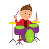 Cartoon musician kid. Vector illustration for children music. Boy isolated on white background. Cute school musical student clip art. Drummer with drum Stock Images