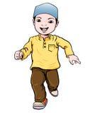 Cartoon of Muslim Boy make running -Vector Illustration