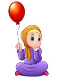 Cartoon Muslim girl holding Balloon vector illustration