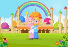 Cartoon Muslim girl hugging in front of a mosque