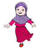 Cartoon of Muslim Girl make running -Vector Illustration