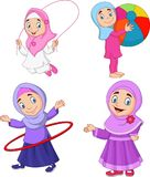 Cartoon muslim girls with different hobbies. Illustration of Cartoon muslim girls with different hobbies royalty free illustration