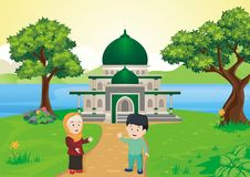 Cartoon Muslim - islamic kids in front of mosque. Vector illustration with lovely landscape, beautiful lake and mountain backdrops Stock Photography