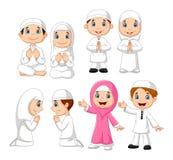 Cartoon Muslim kid collection set Royalty Free Illustration