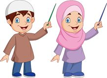 Cartoon Muslim kid presenting
