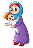 Cartoon Muslim mom carrying her son Royalty Free Stock Photos
