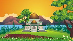 Cartoon Muslim - mosque With beautiful landscape Stock Image