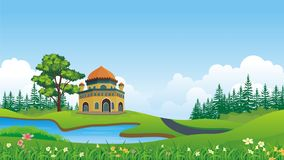 Cartoon Muslim - mosque With beautiful landscape Royalty Free Stock Image
