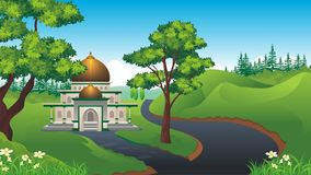 Cartoon Muslim - mosque With beautiful landscape Stock Photo